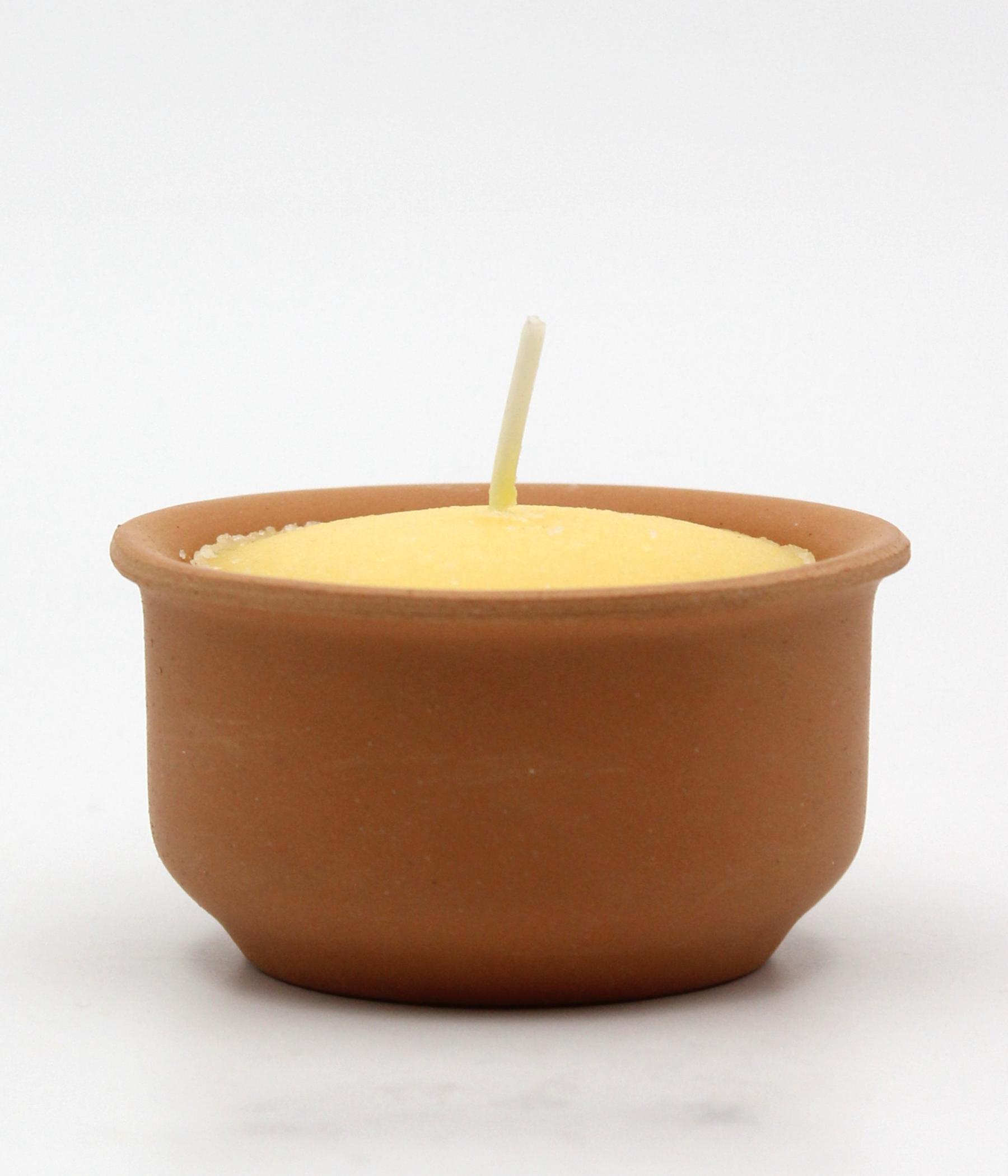 Candela con piatto in terracotta - linea CITRONELLA