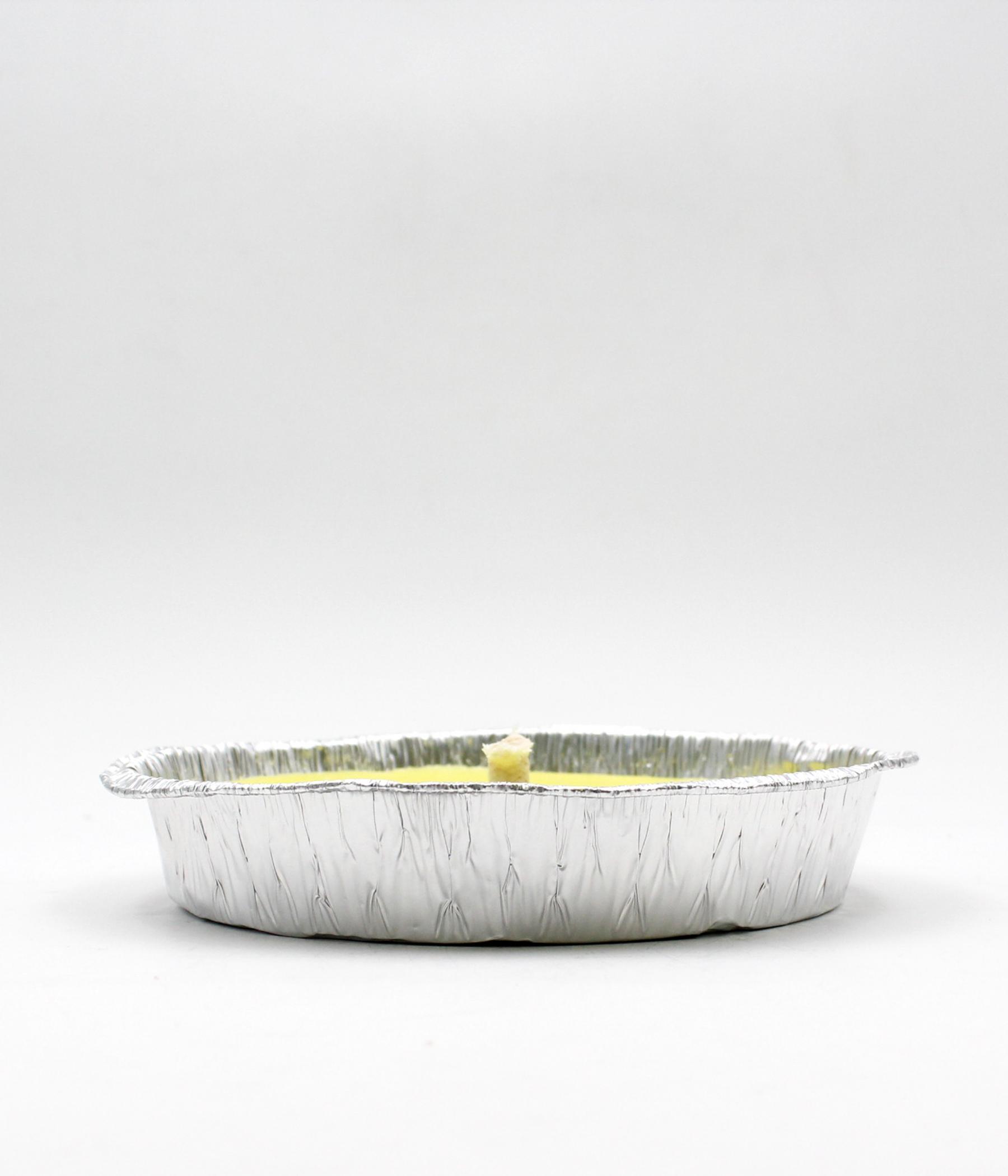 Candela alla citronella con piatto in alluminio