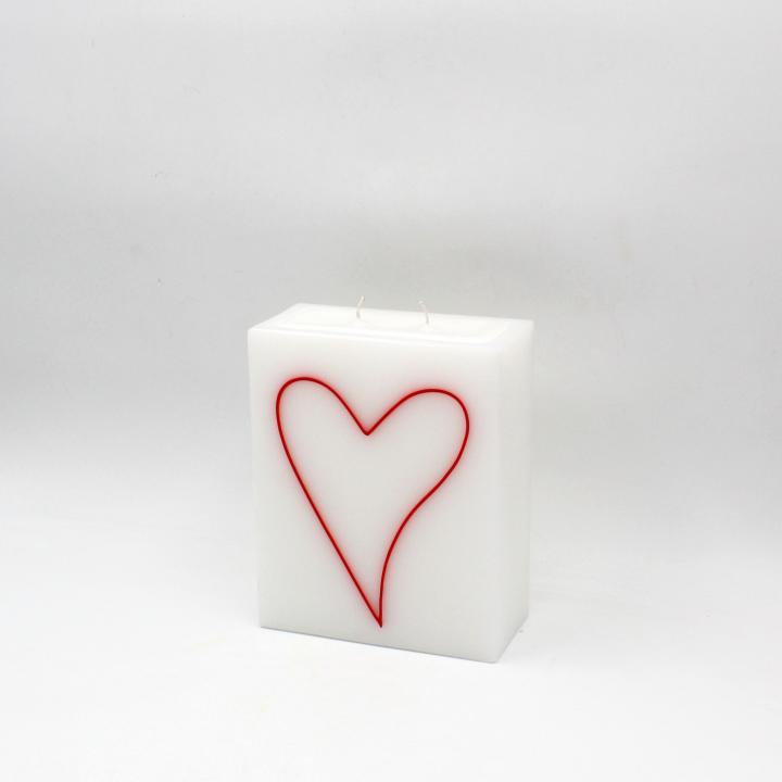 Candela rettangolo con cuore